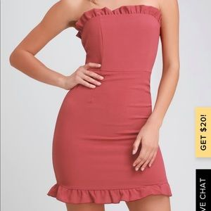 Dusty Rose strapless dress new with tags